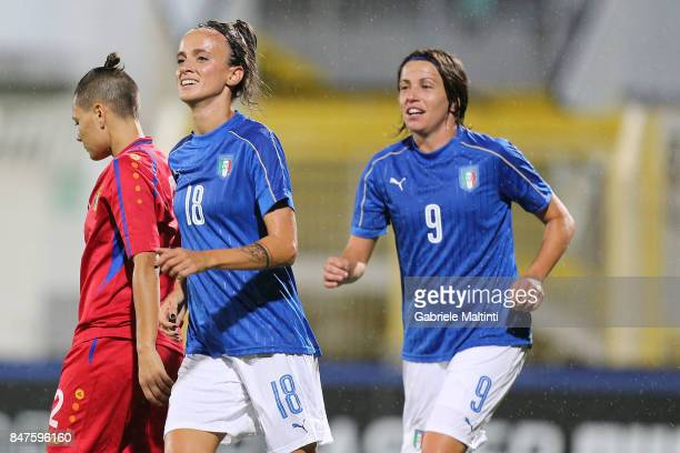 Barbara Bonansea and Daniela Sabatino of Italy reacts during the 2019 FIFA Women's World Cup Qualifier between Italy Women and Moldova Women at...