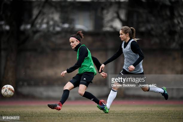 Barbara Bonansea and Kathryn Rood during a Juventus Women training session on February 2 2018 in Turin Italy