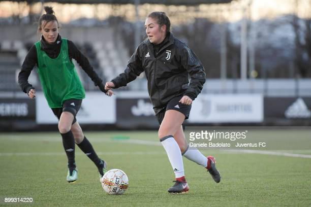 Barbara Bonansea and Katie Zelem during a Juventus women training session at Juventus Center Vinovo on December 28 2017 in Vinovo Italy