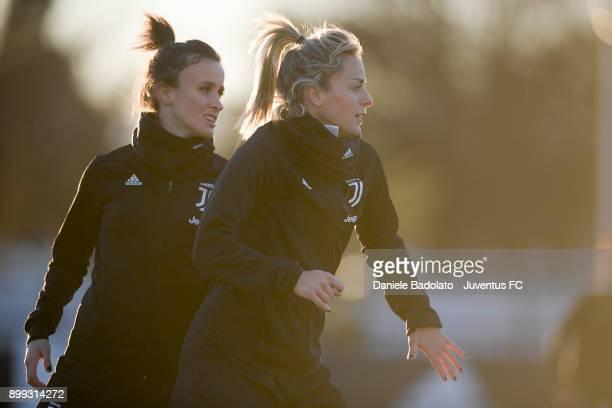 Barbara Bonansea and Martina Rosucci during a Juventus women training session at Juventus Center Vinovo on December 28 2017 in Vinovo Italy