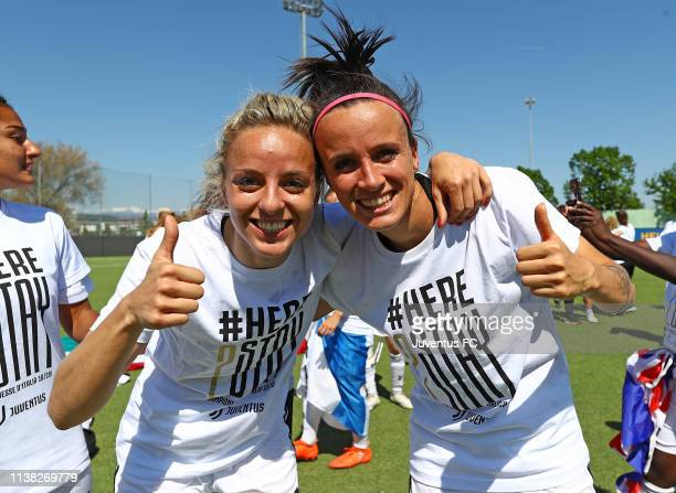 Barbara Bonansea and Martina Rosucci of Juventus Women celebrate after winning the Serie A championship at the end of the the Women Serie A match...