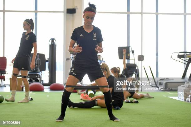 Barbara Bonansea during the Juventus Women first training session at Jtc in Continassa on April 16 2018 in Turin Italy