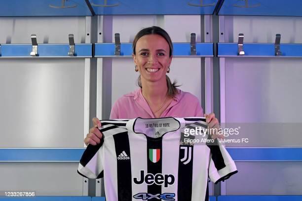 Barbara Bonansea extends her contract with Juventus Women at Juventus Center Vinovo on June 04, 2021 in Vinovo, Italy.