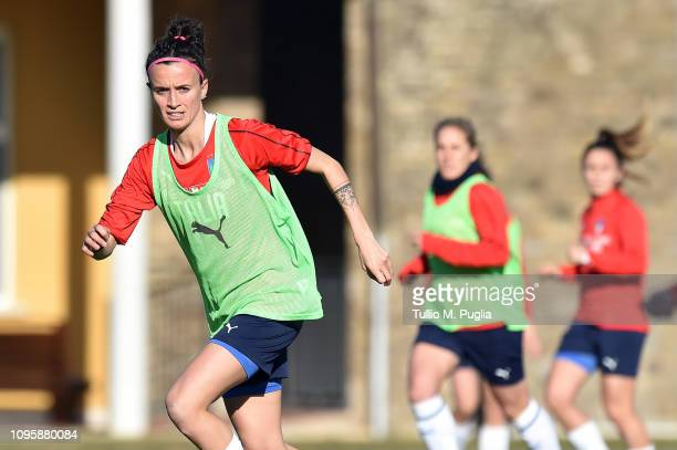 Barbara Bonansea in action during a Italy women training session at Centro Tecnico Federale di Coverciano on January 16 2019 in Florence Italy