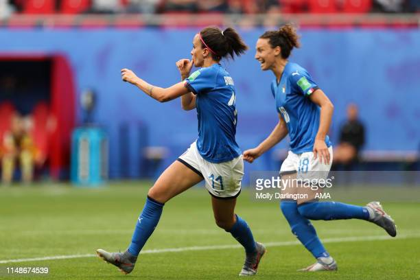 Barbara Bonansea of Italy celebrates after scoring a goal to make it 10 which is ruled out via VAR during the 2019 FIFA Women's World Cup France...