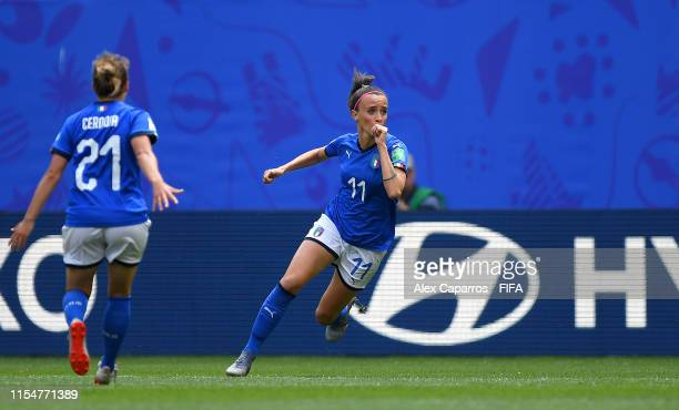 Barbara Bonansea of Italy celebrates after scoring her team's first goal during the 2019 FIFA Women's World Cup France group C match between...