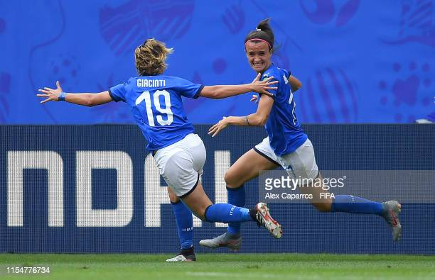 Barbara Bonansea of Italy celebrates after scoring her team's second goal with teammate Valentina Giacinti during the 2019 FIFA Women's World Cup...