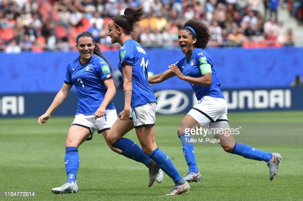Barbara Bonansea of Italy celebrates after scoring the equalizing goal during the 2019 FIFA Women's World Cup France group C match between Australia...