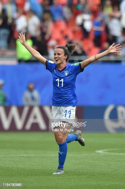 Barbara Bonansea of Italy celebrates after winning the 2019 FIFA Women's World Cup France group C match between Australia and Italy at Stade du...