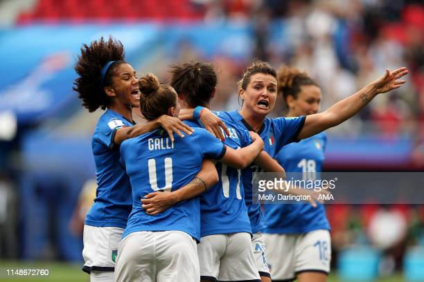 Barbara Bonansea of Italy celebrates with team mates after scoring a goal to make it 10 which is ruled out via VAR during the 2019 FIFA Women's World...