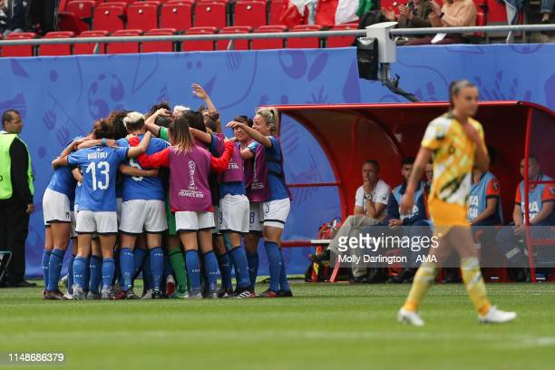 Barbara Bonansea of Italy celebrates with team mates after scoring a goal to make it 12 during the 2019 FIFA Women's World Cup France group C match...