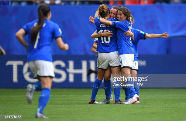 Barbara Bonansea of Italy celebrates with teammates after scoring her team's second goal during the 2019 FIFA Women's World Cup France group C match...