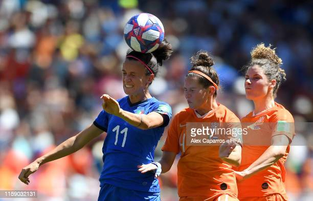 Barbara Bonansea of Italy competes for a header with Merel Van Dongen of the Netherlands during the 2019 FIFA Women's World Cup France Quarter Final...