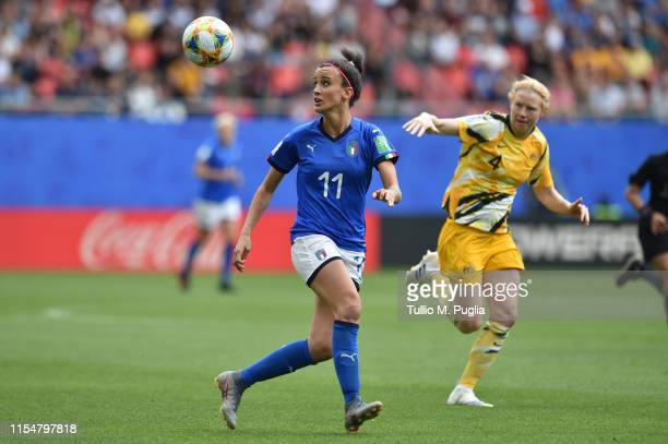 Barbara Bonansea of Italy is challenged by Clare polkinghorne of Australia during the 2019 FIFA Women's World Cup France group C match between...