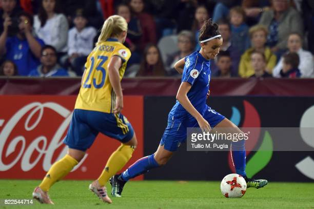 Barbara Bonansea of Italy is challenged by Elin Rubensson of Sweden during the UEFA Women's Euro 2017 Group B match between Sweden and Italy at...