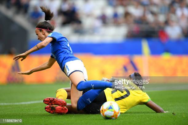 Barbara Bonansea of Italy is fouled by Allyson Swaby of Jamaica inside the penalty area which leads to Italy being awarded a peanlty after a VAR...