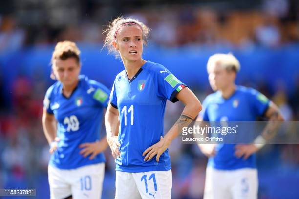 Barbara Bonansea of Italy looks on during the 2019 FIFA Women's World Cup France Round Of 16 match between Italy and China at Stade de la Mosson on...