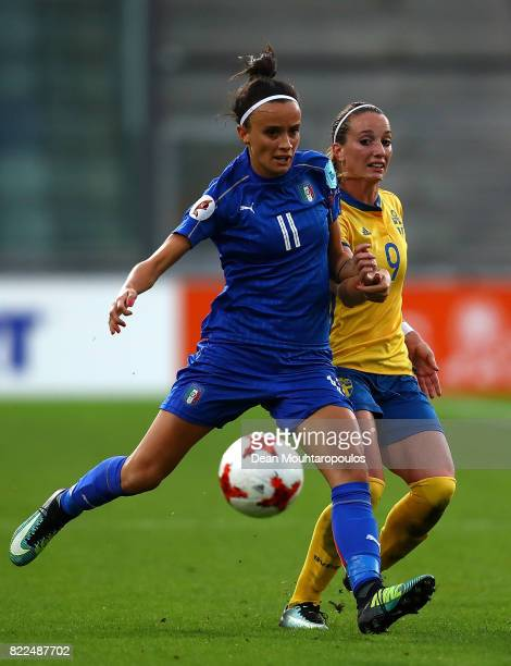 Barbara Bonansea of Italy looks to pass under pressure from Kosovare Asllani of Sweden during the UEFA Women's Euro 2017 Group B match between Sweden...