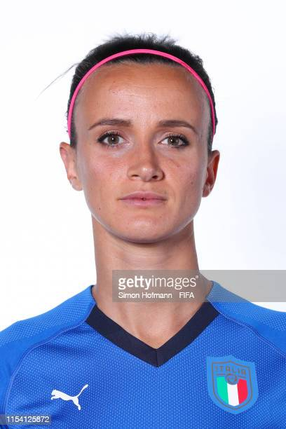 Barbara Bonansea of Italy poses for a portrait during the official FIFA Women's World Cup 2019 portrait session at Royal Hainaut Spa Resort Hotel on...