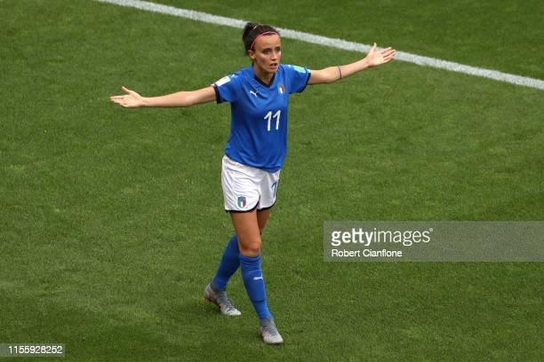 Barbara Bonansea of Italy reacts during the 2019 FIFA Women's World Cup France group C match between Jamaica and Italy at Stade Auguste Delaune on...