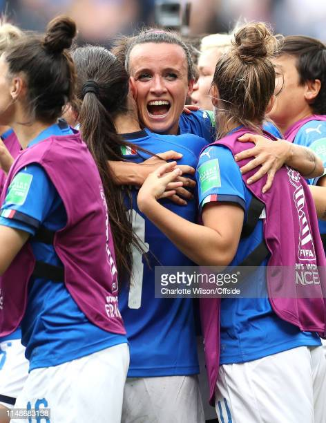 Barbara Bonansea of Italy who scored the winner in injury time celebrates with her teammates during the 2019 FIFA Women's World Cup France group C...