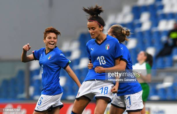 Barbara Bonansea of Italy Woman celebrates after scoring the 11 goal during the International Friendly match between Italy Women and Ireland Women at...