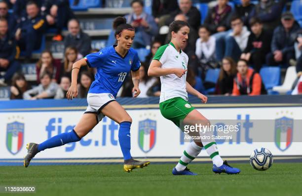 Barbara Bonansea of Italy Woman competes for the ball with Niamh Fahey of Ireland Women during the International Friendly match between Italy Women...