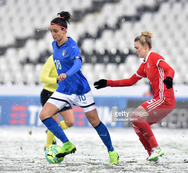 Barbara Bonansea of Italy Women and Rhannon Roberts of Wales Women in action during the International Friendly match between Italy Women and Wales...