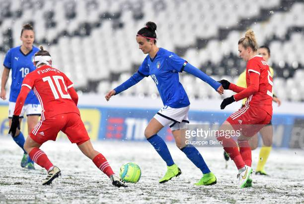Barbara Bonansea of Italy Women in action during the International Friendly match between Italy Women and Wales Women at Dino Manuzzi Stadium on...