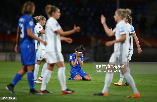 Barbara Bonansea of Italy Women sits dejected after the UEFA Women's Euro 2017 match between Germany and Italy at Koning Willem II Stadium on July 21...