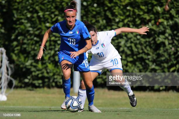 Barbara Bonansea of Italy Womens in action against Marta Mascarello of Italy U23 during the match between Italy Women and Italy U23 Women at Centro...
