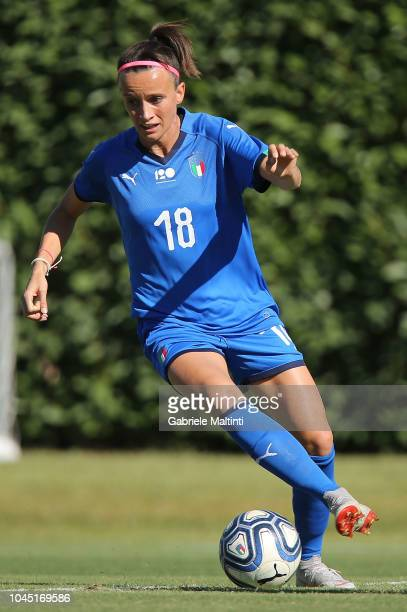 Barbara Bonansea of Italy Womens in action at Centro Tecnico Federale di Coverciano on October 3 2018 in Florence Italy