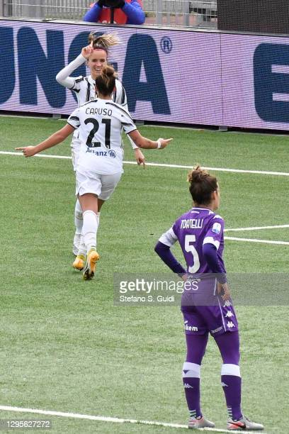 Barbara Bonansea of Juventus FC celebrates a goal during the Women's Super Cup Final match between Juventus and ACF Fiorentina at Stadio Comunale on...