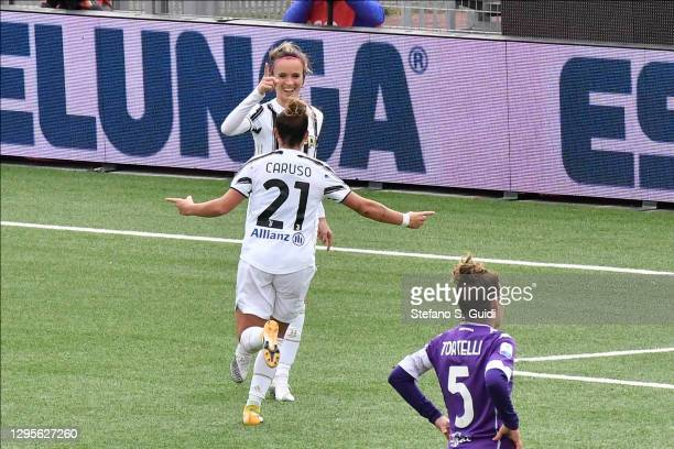 Barbara Bonansea of Juventus FC celebrates scoring a goal during the Women's Super Cup Final match between Juventus and ACF Fiorentina at Stadio...
