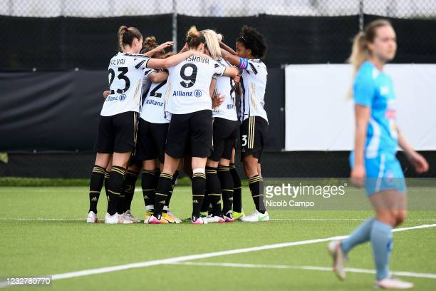 Barbara Bonansea of Juventus FC celebrates with her teammates after scoring a goal during the Women Serie A football match between Juventus FC and...