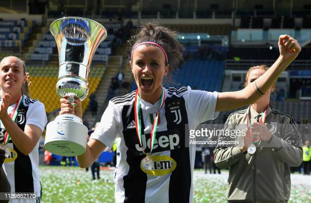 Barbara Bonansea of Juventus Woman celebrates the victory with the trophy after the Women Coppa Italia Final match between Juventus Women and ACF...