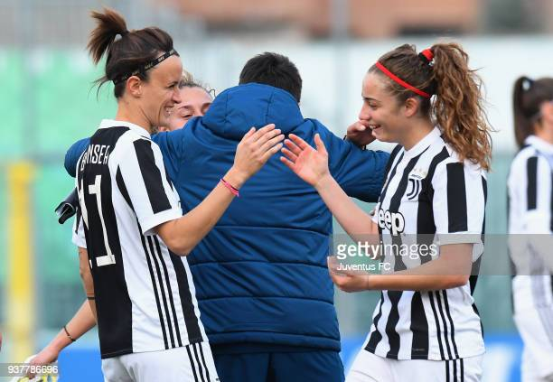 Barbara Bonansea of Juventus Women and Benedetta Gioanna celebrate the victory after the serie A match between Sassuolo Femminile and Juventus Women...