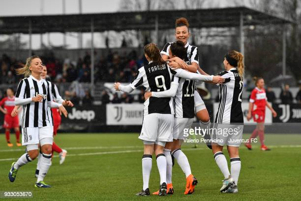 Barbara Bonansea of Juventus Women celebrates a goal with team mates during the serie A match between Juventus Women and Pink Bari at Juventus Center...