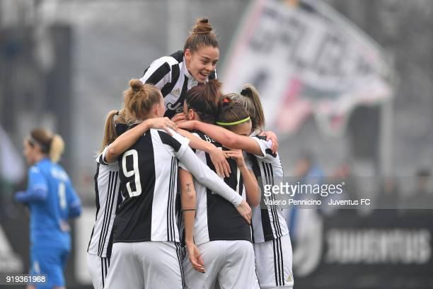 Barbara Bonansea of Juventus Women celebrates after scoring the opening goal with team mates during the match between Juventus Women and Empoli...
