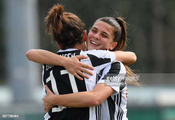 Barbara Bonansea of Juventus Women celebrates after scoring the opening goal with teammate Sofia Cantore during the serie A match between Sassuolo...