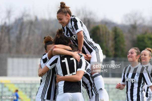 Barbara Bonansea of Juventus Women celebrates after scoring the opening goal with teammates during the serie A match between Sassuolo Femminile and...