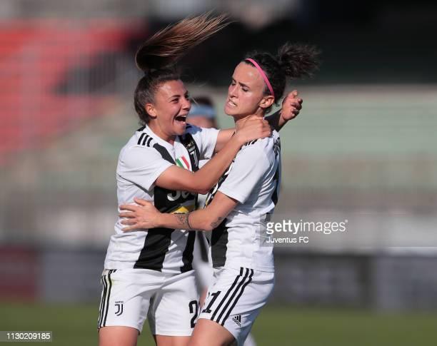 Barbara Bonansea of Juventus Women celebrates her goal with team-mate Arianna Caruso during the Women Coppa Italia match between AC Milan and...