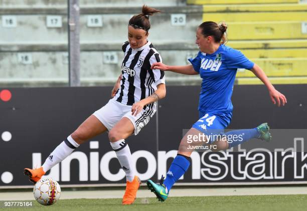 Barbara Bonansea of Juventus Women competes for the ball whit Adina Sabina Giurgiu of Sassuolo during the serie A match between Sassuolo Femminile...