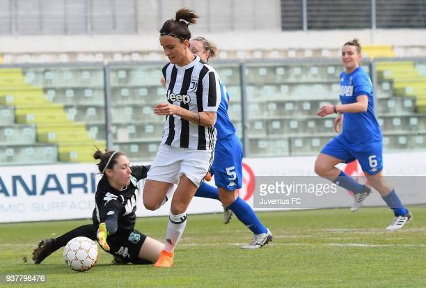Barbara Bonansea of Juventus Women competes for the ball whit Alice Lugli of Sassuolo femminileduring the serie A match between Sassuolo Femminile...
