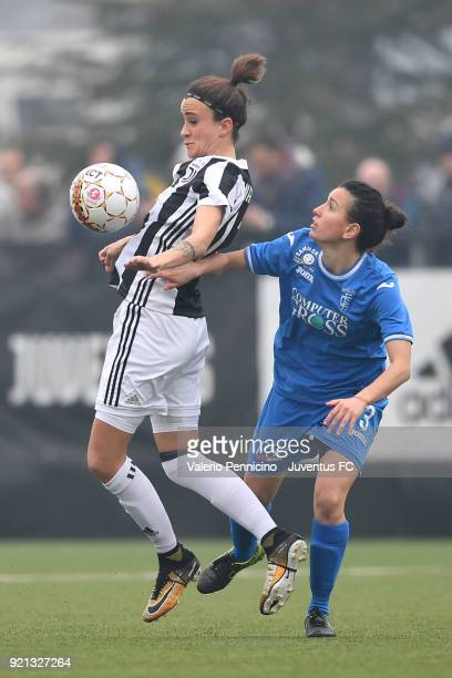 Barbara Bonansea of Juventus Women is challenged by Lucia Di Guglielmo of Empoli Ladies during the match between Juventus Women and Empoli Ladies at...
