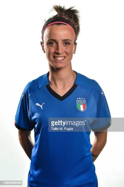 Barbara Bonansea poses during a Italy women portrait session at Centro Tecnico Federale di Coverciano on January 16 2019 in Florence Italy