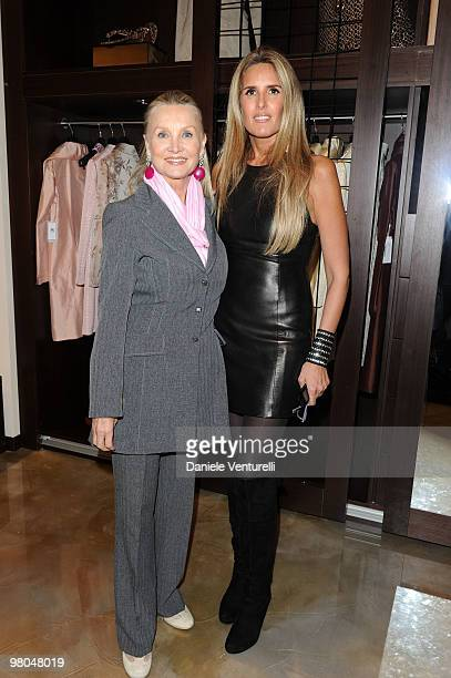 Barbara Bouchet and Tiziana Rocca attend the opening of the ''Ester Maria Rivaroli'' flagship store on March 25 2010 in Rome Italy