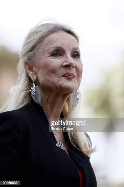 Barbara Bouchet attends a photocall for 'Metti La Nonna Nel Freezer' at Piazza Cavour on March 9 2018 in Rome Italy