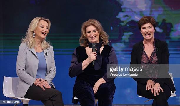 Barbara Bouchet Iva Zanicchi and Corinne Clery attend the 'Quelli Che Il Calcio' Tv Show on March 1 2015 in Milan Italy