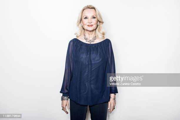 Barbara Bouchet poses during Cortinametraggio on March 23 2019 in Cortina d'Ampezzo Italy